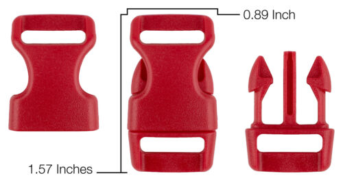 10-5//8 Inch Red Contoured Side Release Plastic Buckle Closeout