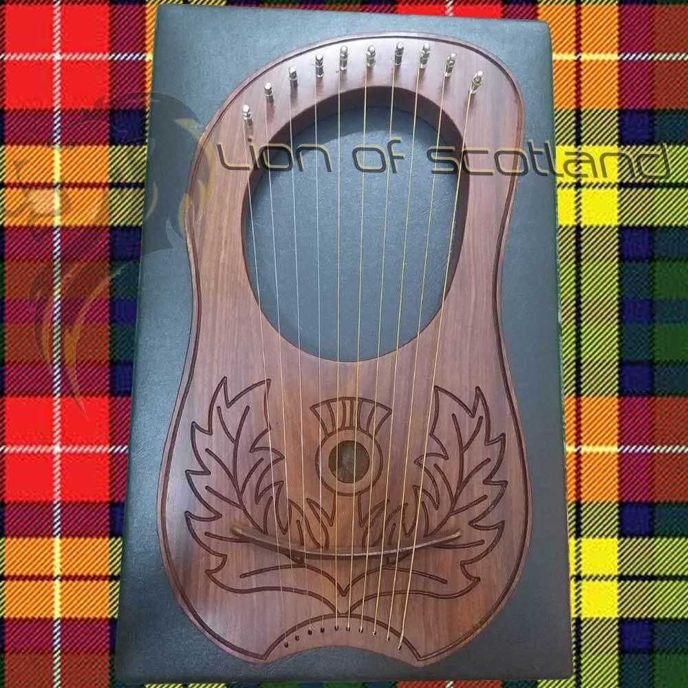 Lyra Harp Rosewood 10 Metal String/Sheesham Wood Lyre Harps Free Hard Case Harfe
