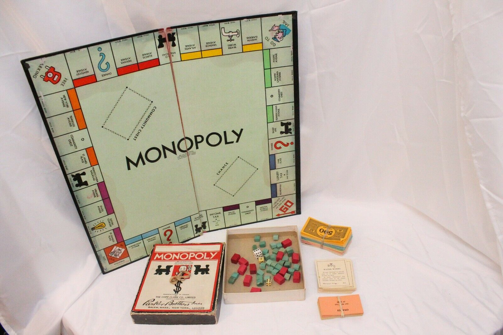Vintage 1936 Monopoly Game Wood Pieces Copp Clark CANADIAN