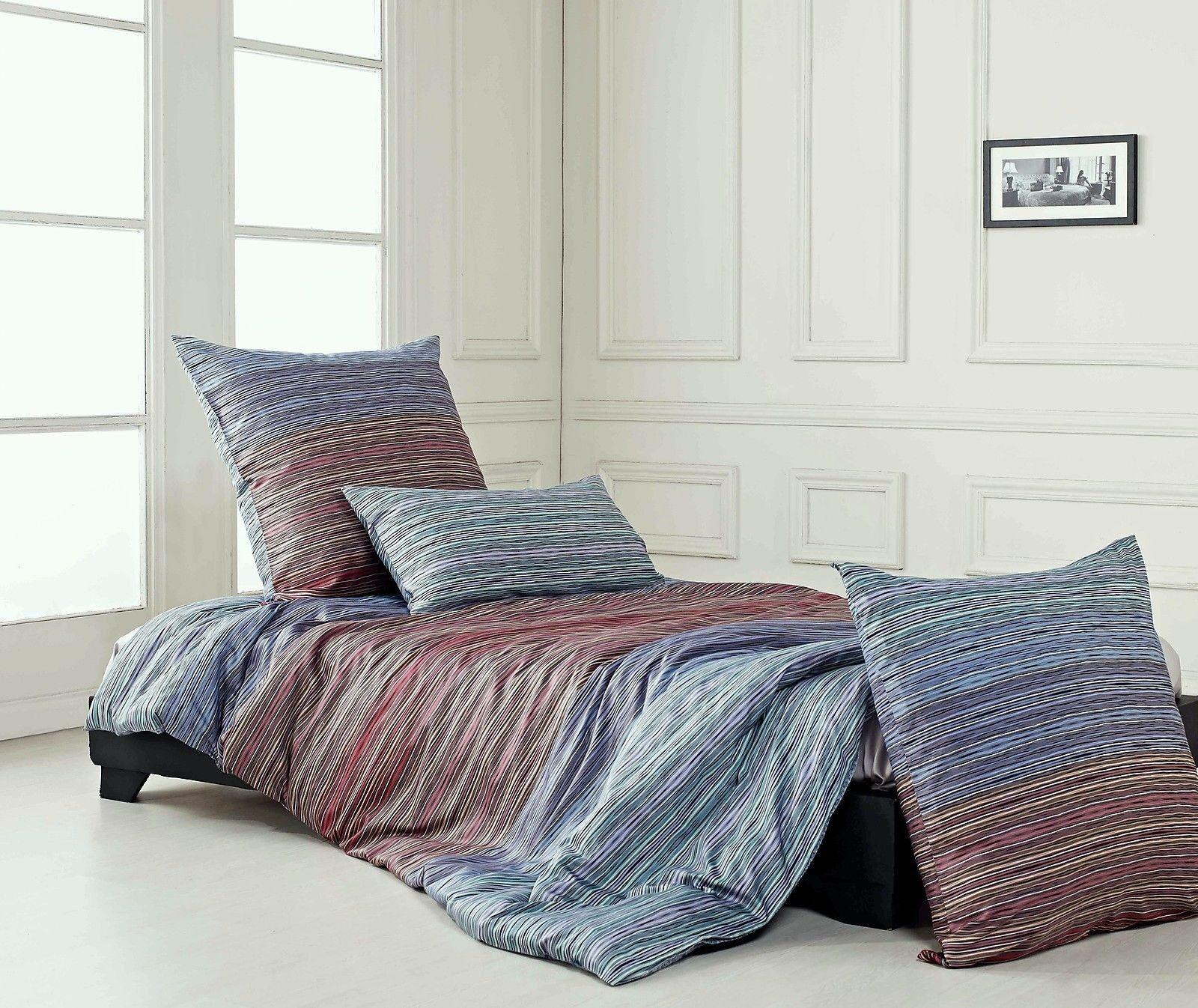 Modernes Bettwäsche-Set aus Mako-Satin-Baumwolle  135 x 200 cm  80 x 80 cm | Überlegen