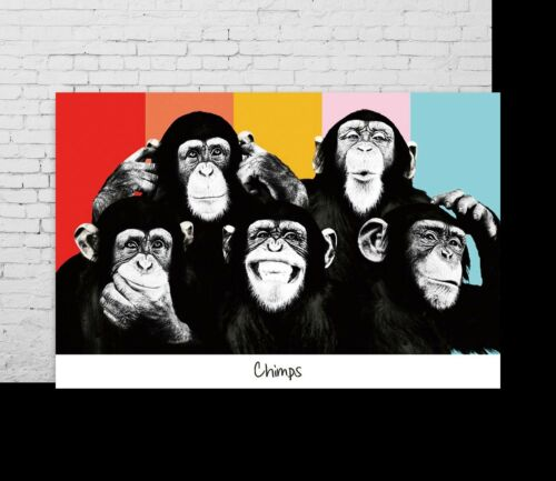 21 24x36in P-212 Art The Chimps Funny Monkey Face LW-Canvas Poster