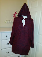 Paradiso Ladies Hooded Oversize Sweater Burgundy/navy Soft Knit Sz.s $58