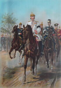 GERMAN-ARMY-Emperor-Willim-II-amp-His-Staff-on-Horses-1899-SUPERB-Color-Print