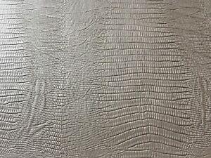 Kunstleder-Meterware-KROKO-ECHSE-Krokodil-Optik-Alt-Silber-150cm-breit-dehnbar