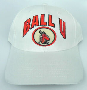 BALL-STATE-CARDINALS-BALL-U-NCAA-VINTAGE-WHITE-SNAPBACK-RETRO-CAP-HAT-NWT