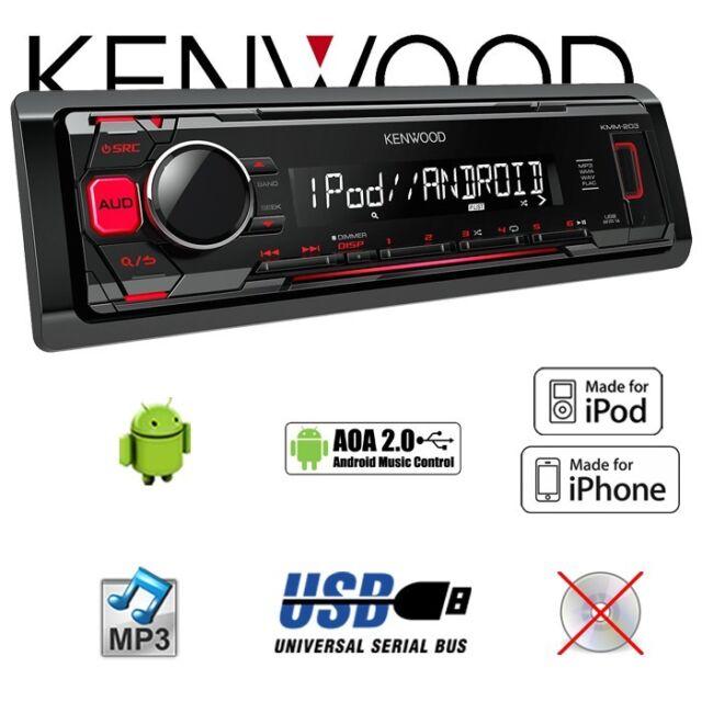 Kenwood kmm-203 USB iPhone-Android autorradio mp3