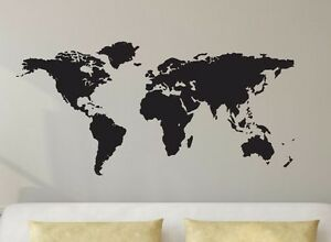 World map globe vinyl decal wall art decor silhouette travel earth image is loading world map globe vinyl decal wall art decor gumiabroncs Image collections