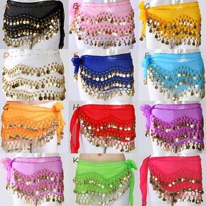 Hot-Belly-Dance-Gold-Coin-3-Rows-Belt-Hip-Scarf-Skirt-Wrap-Chain-Dancing-Costume