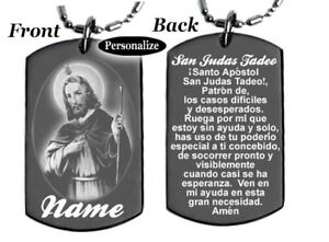 Oracion A San Judas Tadeo St Jude Dog Tag Necklace Or Key Chain