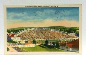 Ithaca-New-York-Cornell-University-Crescent-Stadium-Linen-Vintage-Postcard