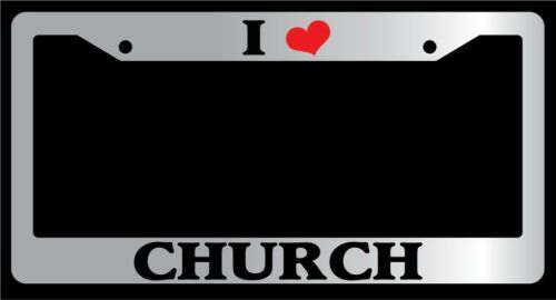 "Chrome License Plate Frame /""I Heart Church/"" Auto Accessory Novelty"