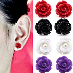 Paar-Rosen-Ohrringe-Ohrstecker-Bluete-Blume-Rose-Farben-rot-lila-weiss-schwarz