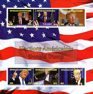 Central-African-Rep-2015-MNH-Donald-Trump-US-Presidents-Elections-6v-M-S-Stamps