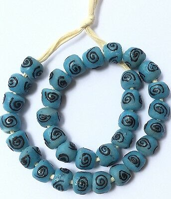 Blue African Recycled Tile Beads A String of 100pcs
