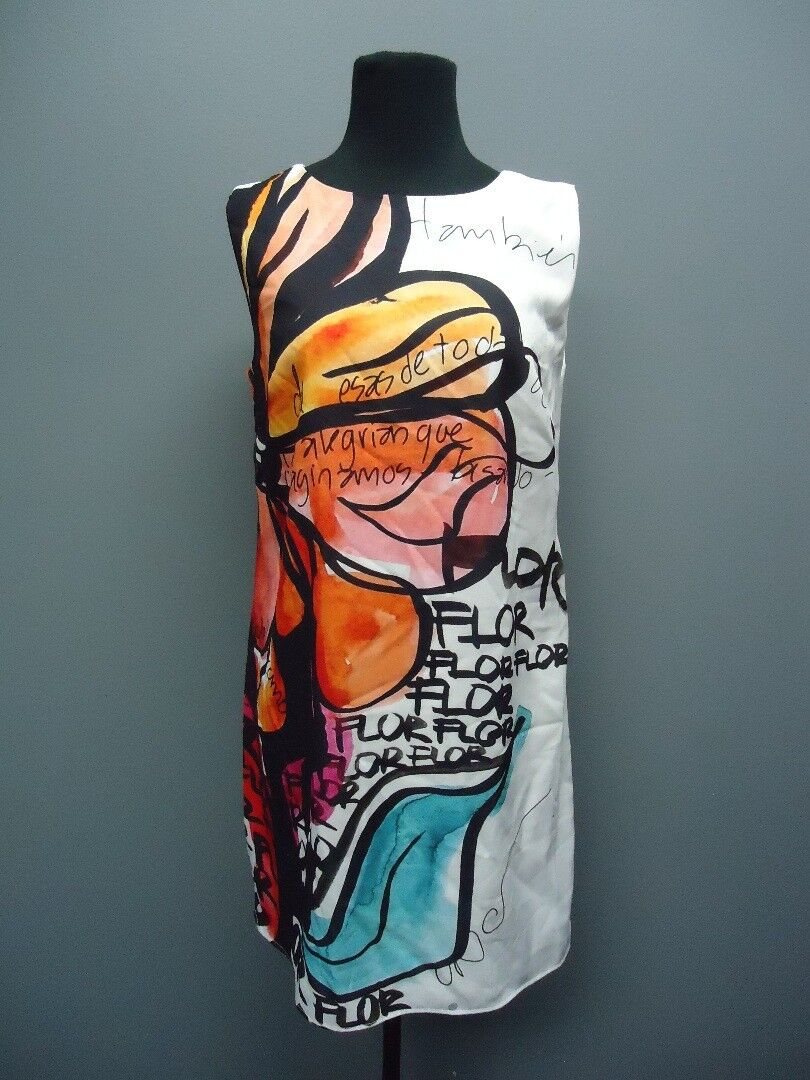 LA GALERISTE White orange Sleeveless Knee Length Dress Sample NWT Sz M EE9099