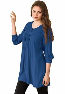 6d7006e5a01f9d NEW Womens Ellos Blue Tunic Top Blouse 3/4 Sleeve Plus Size MEDIUM ...