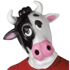 ADULT LATEX MILK COW MASK FARM ZOO ANIMAL MOO COSTUME MASK BLACK WHITE