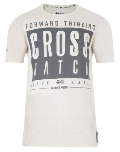 Crosshatch New Men/'s Printed Slim Fit T-Shirt Branded Logo Print Top S M L XL