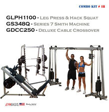 Body-Solid Set: GDCC250 Crossover   GLPH1100 Leg Press Hack Squat   GS348Q Smith