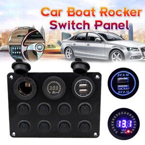 8Gang-Schaltpanel-Schalter-Schalttafel-Voltmeter-USB-12V-24V-Auto-Bus-Boot-Neu