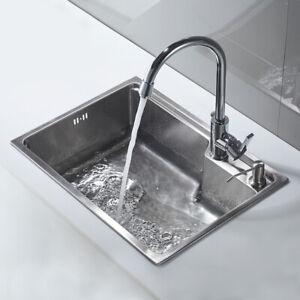 Details zu Edelstahlspüle Einbauspüle Wasserhahn Küchenspüle Küche Armatur  Spülbecken Eckig