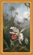 Two Hummingbirds Above a White Orchid Martin Johnson Heade Kolibri B A3 02864