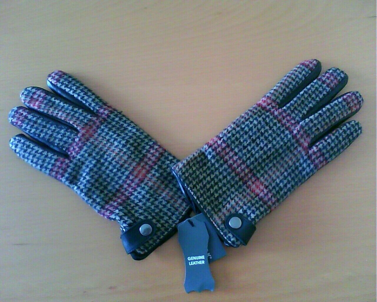 Lads Mens Leather Gloves Check Fabric Gloves NEW