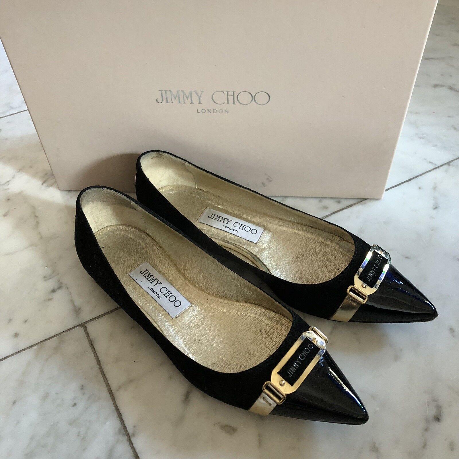 Jimmy Choo Choo Choo Ballerinas Gr. 36 Schwarz Lack Spitz Gold Top Sandalette ... 487809