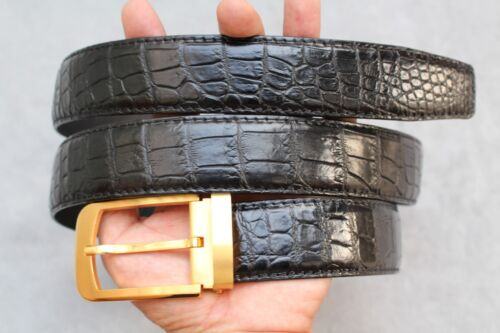 Black Genuine Alligator Crocodile Leather Skin Men/'s Belt #LT0109