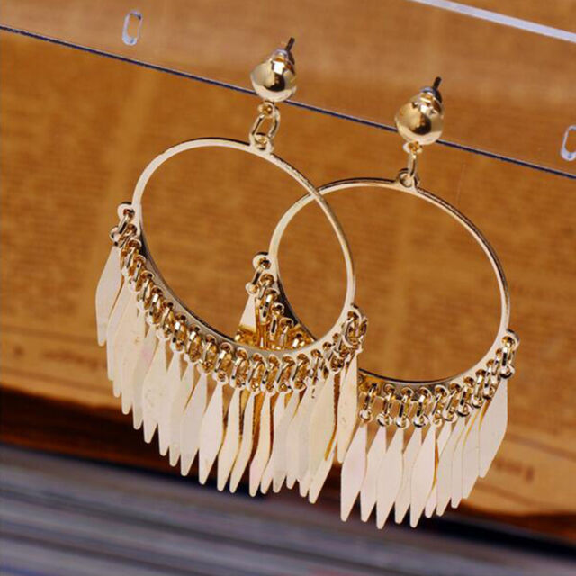 Hot Elegant Women Earring Gold Plated Posh Big Ear Stud Glittering Gift