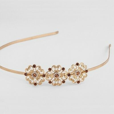 Wedding Party FloralHeadband Hair Accessories Yellow Gold Plate Crystals Pearls