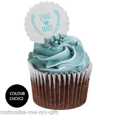 Wedding Crest Personalised Cupcake Cake Toppers Size Choice Ebay