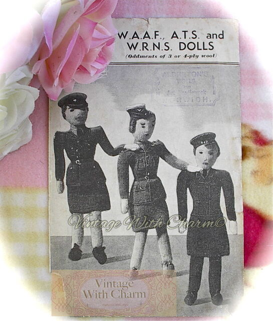 Vintage 1940s English Pattern ~ Soldier Airman Cloth Dolls Sailor