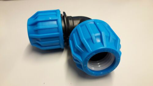 MDPE 90 Degree Elbow Compression Ends Water Pipe WRAS Approved Below Ground Blue