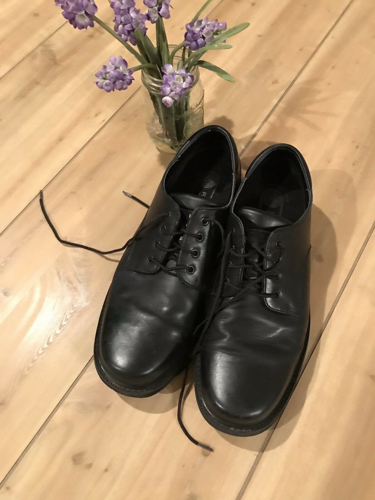 MENS ROCKPORT WATERPROOF Black LEATHER OXFORDS SHOES size 11.5 W Hydro-Shield