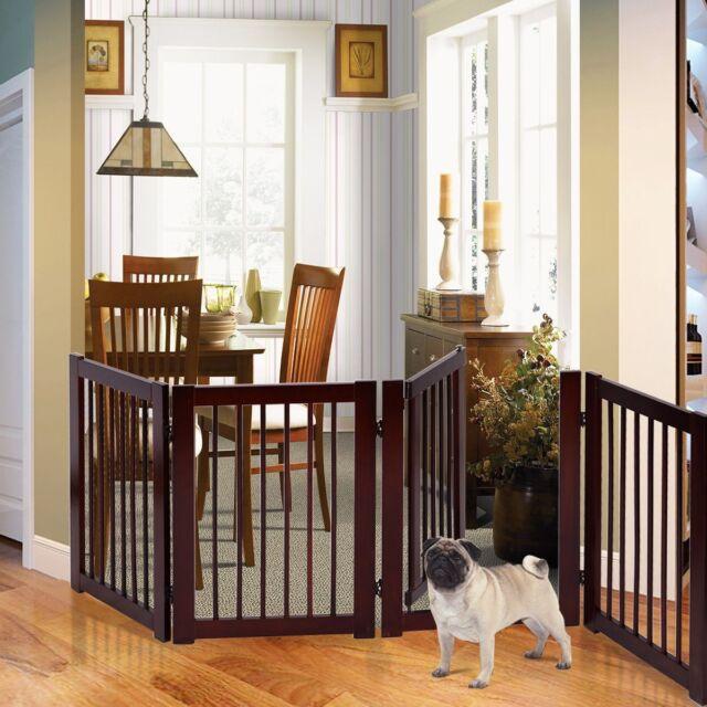 Indoor Pet Gate Wood Dog Fence 4 Panel Folding Zig Zag Kids Children Wooden Pen
