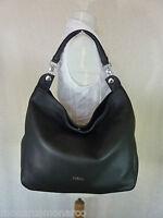 Furla Classic Onyx Black Pebbled Leather Raffaella Hobo Bag $448
