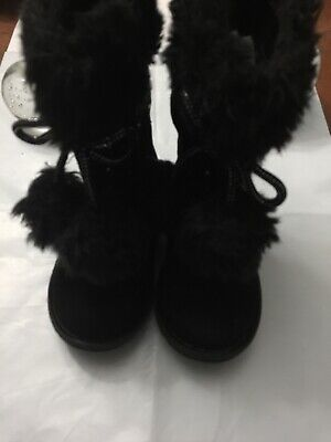 Piper Youth Girl/'s Rachelle Faux Fur Wedge Fashion Boots Black #11582 28S5 NEW