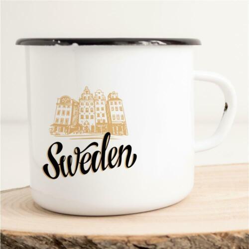 Emaille Tasse Becher Sweden Schweden Land Stockholm Skyline Silhouette