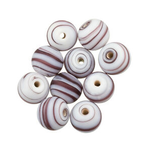 D25//8 Silver Lined Large Round 14mm Red Handmade Glass Beads Pack of 5