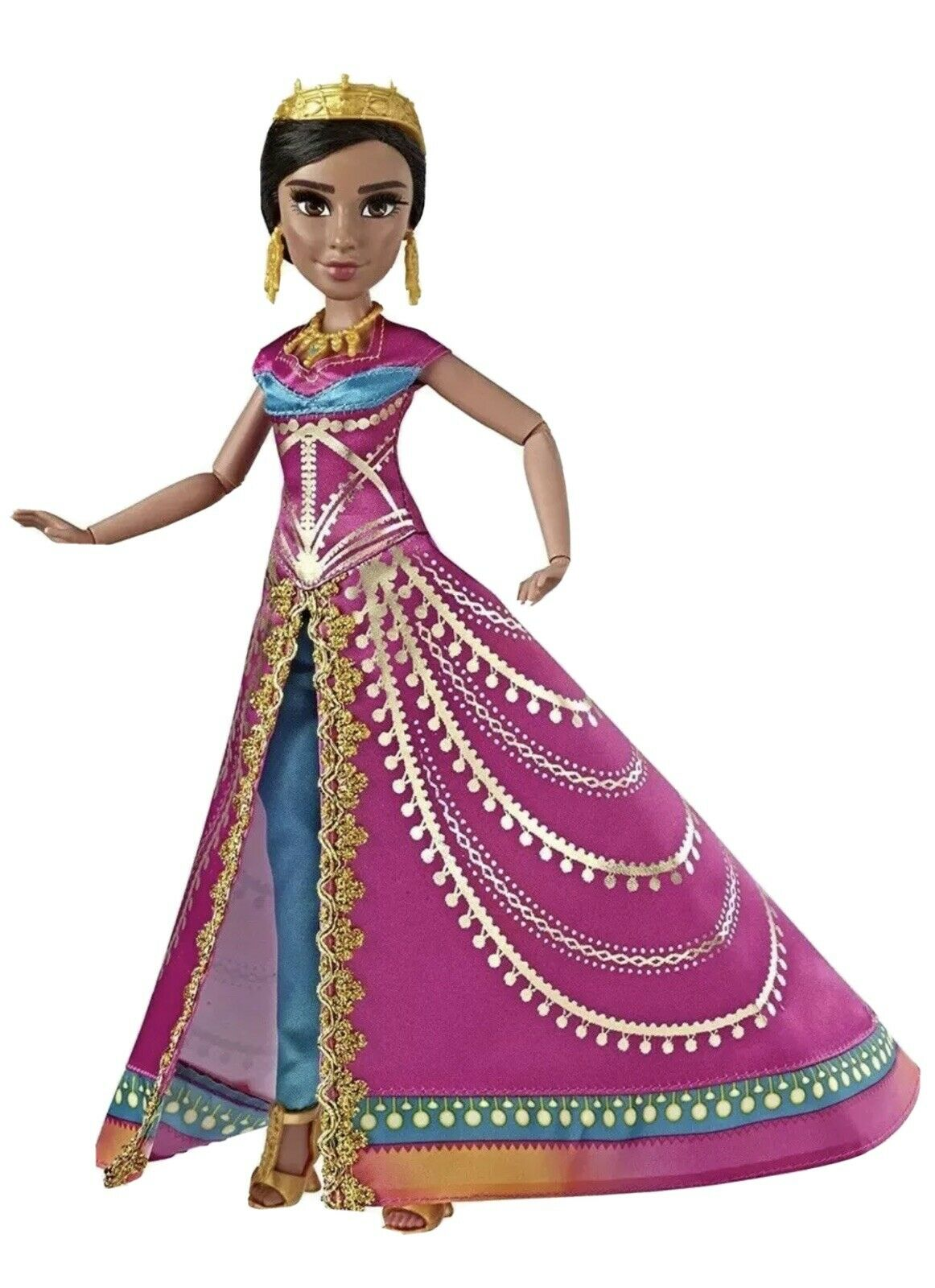 huashun Princess Jasmine Doll Princess Jasmine with Blue Dress and Jeweled Necklace and Crown 14inch Tall