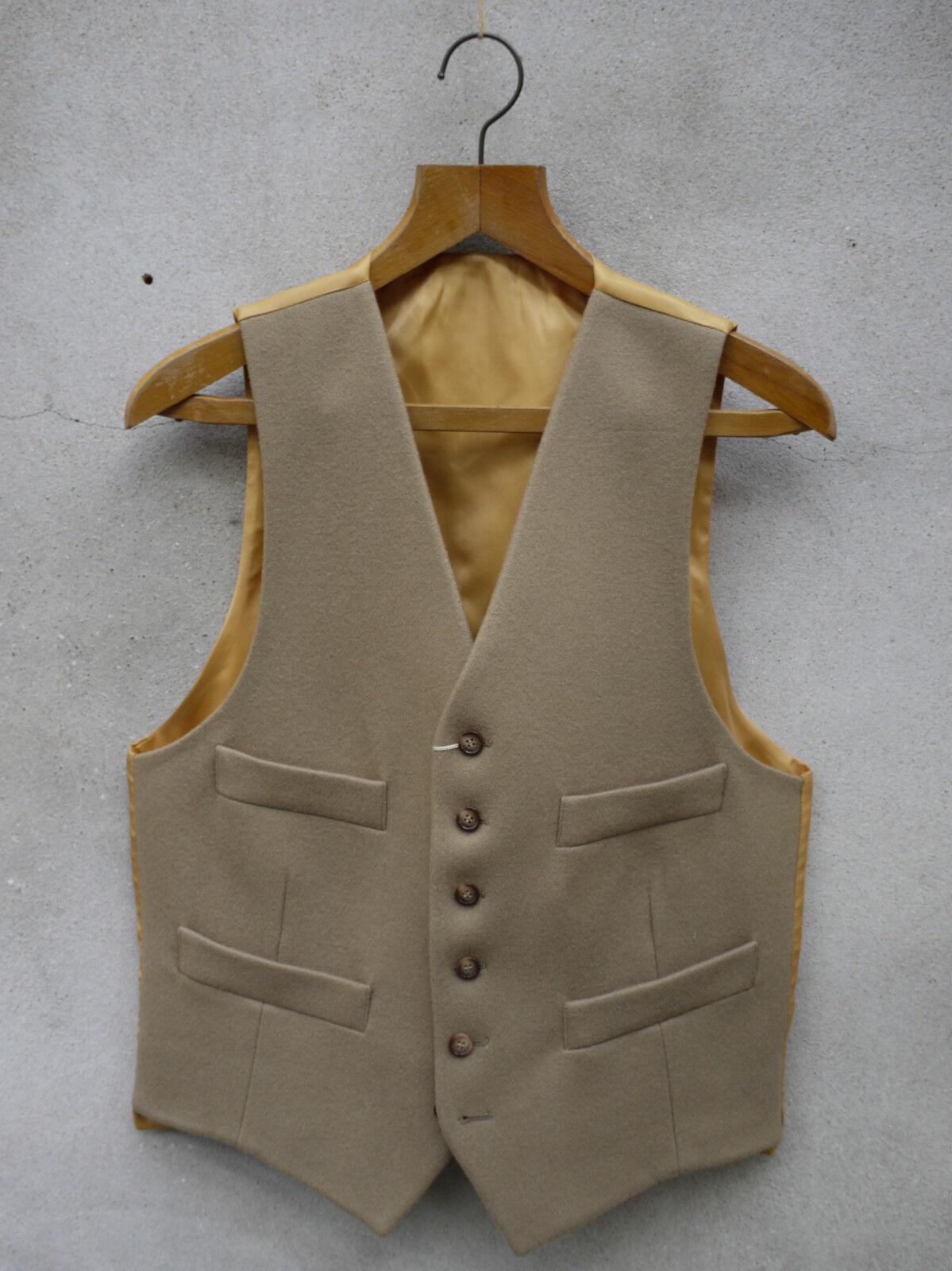 Traditional Ross Wool Waistcoat by Gurteen – 38-52in Camel   Fawn