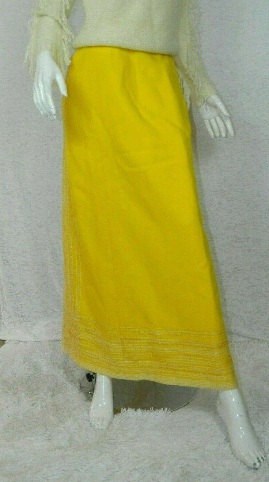 Vintage Arola Finland Skirt Yellow White Wool 70s… - image 7