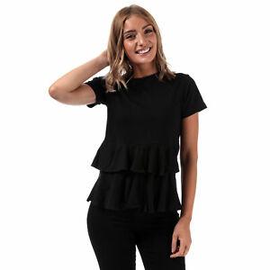 Mujeres-Brave-Soul-volantes-Camiseta-en-Negro