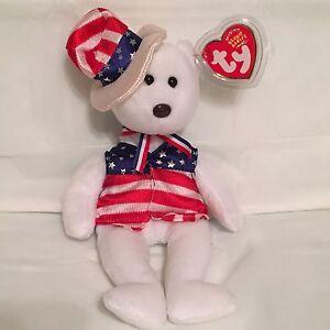 TY Beanie Baby - SAM White Patriotic Bear-Pristine w  Mint Tags ... fe67fb14541