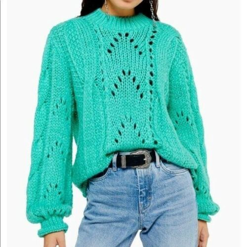 Topshop Turquoise knitted lofty sweater Size 0-2