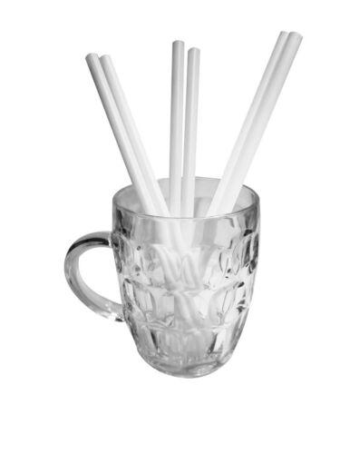 """Biodegradable Jumbo Straws White 9/"""" Straight Eco Straws 9mm Pack of 200"""