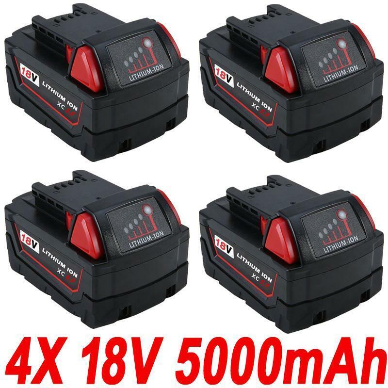 4x 18V 5.0Ah Red Lithium Ion XC 5.0 Akku für Milwaukee M18 M18B4 48-11-1828