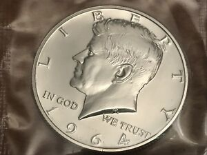 1964-P-KENNEDY-HALF-DOLLAR-PROOF-GEM-90-Silver-in-Cello-Free-S-H-with-holder