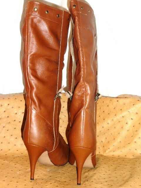 SUPERB BOOTS BOOT LEATHER ASTRAL KATY KATY KATY BROWN STRAPPED VINTAGE 80 NEW T.35 885c82